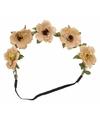 Ibiza stijl haarbandjes met beige bloemen