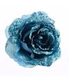 Kerstboom decoratie roos petrol blauw 14 cm