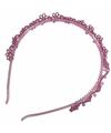 Roze diadeem met glitter bloemetjes
